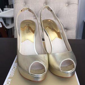 MK Brushed Gold Peep Toe Sling Back Heels